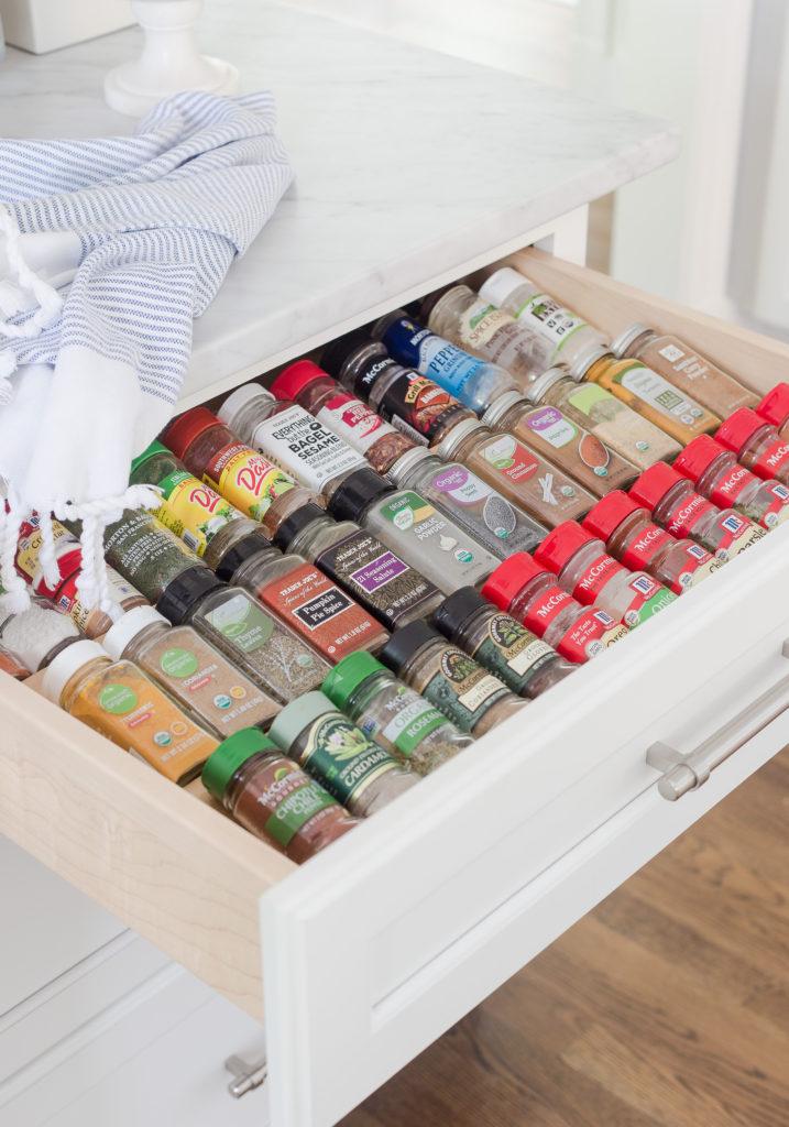 organize kitchen spice cabinet