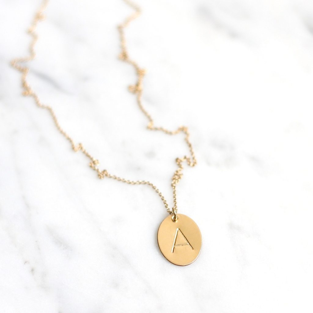 gold oval initial necklace