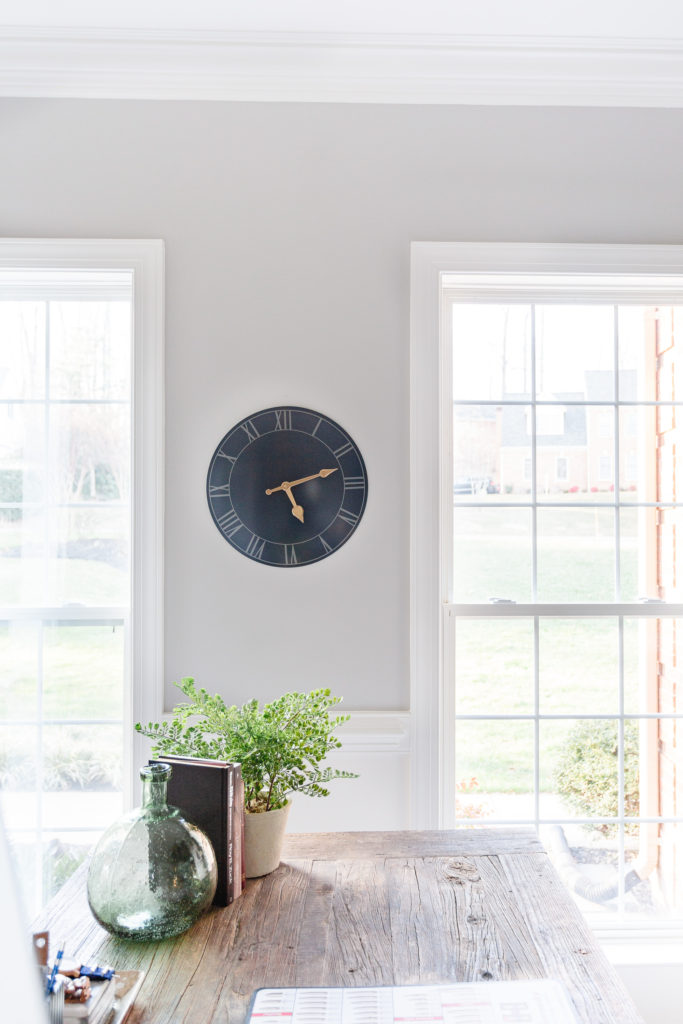 Blue Wall clock in masculine home office