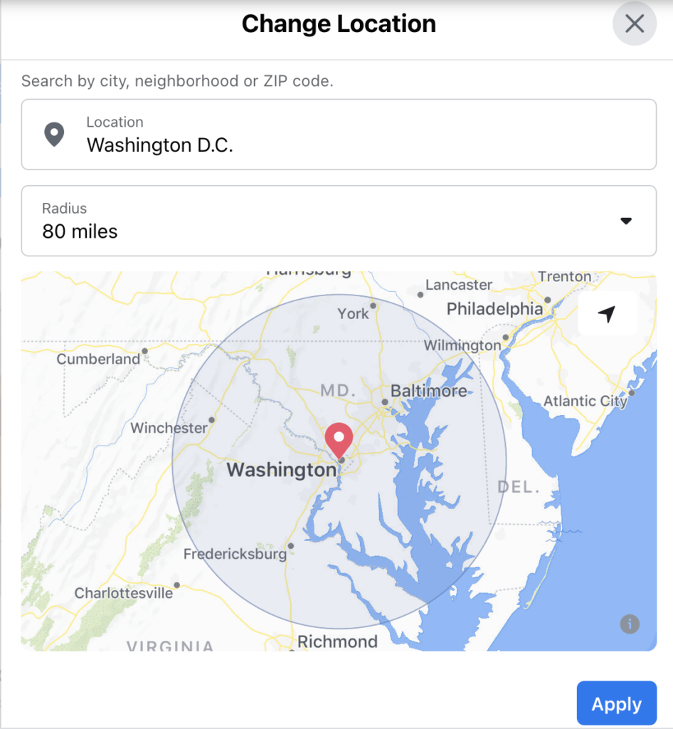 Facebook Marketplace geographical search